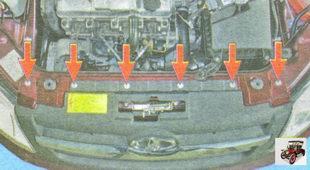 болты верхнего крепления переднего бампера к кузову автомобиля