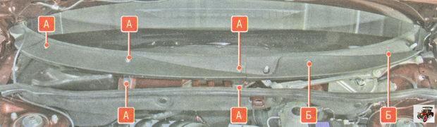 расположение винтов крепления накладок короба воздухопритока Лада Гранта ВАЗ 2190