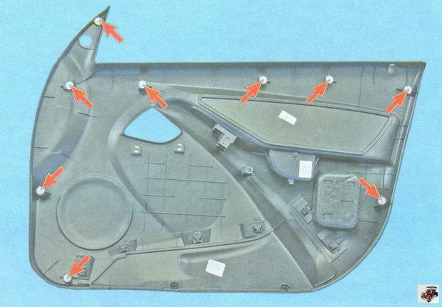 расположение клипс крепления обшивки левой передней двери Лада Гранта ВАЗ 2190 (вид с внутренней стороны)
