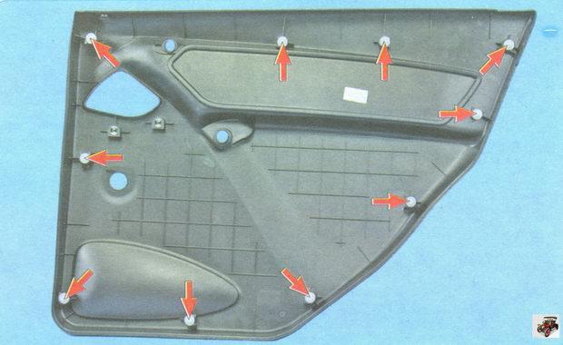 расположение клипс крепления обшивки левой задней двери Лада Гранта ВАЗ 2190 (вид с внутренней стороны)