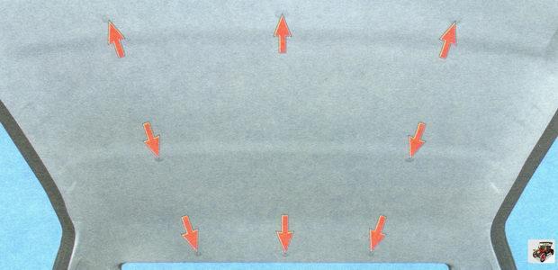 расположение пистонов крепления обшивки потолка к каркасу кузова Лада Гранта ВАЗ 2190