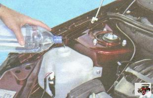 проверка уровня и доливка жидкости в бачок омывателя стекла
