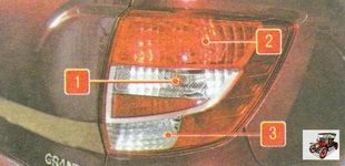 1 - лампа заднего указателя поворота; 2 - лампа стоп-сигнала и габаритного огня; 3 - лампа света заднего хода