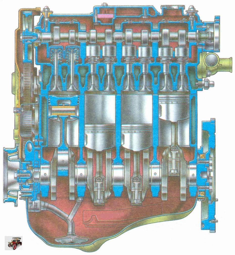 Продольный разрез двигателя ВАЗ 11183, ВАЗ 21116 или ВАЗ 11186 Лада Гранта ВАЗ 2190
