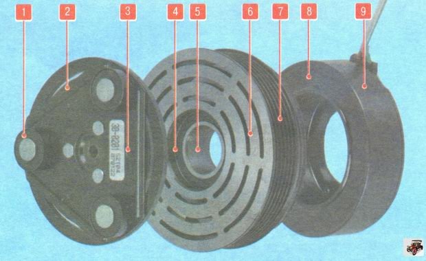 Электромагнитная муфта привода компрессора кондиционера Лада Гранта ВАЗ 2190