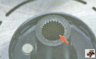 осмотрите шлицы ступицы прижимной пластины