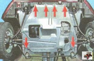 элементы крепления средней части защиты двигателя