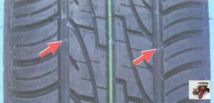символ треугольной формы на шине указывают на место расположения индикаторов износа