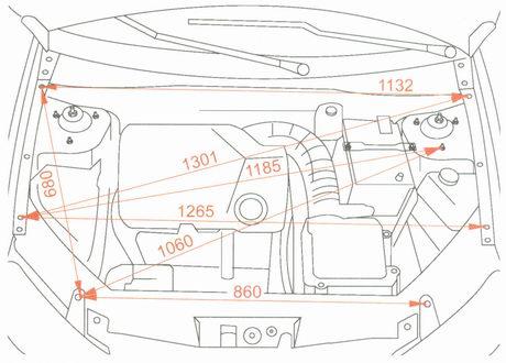 Контрольные точки кузова в моторном отсеке Лада Гранта ВАЗ 2190