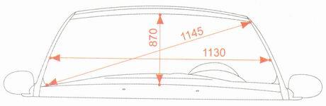 Контрольные размеры проема ветрового стекла Лада Гранта ВАЗ 2190