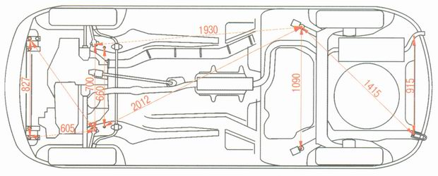 Контрольные точки кузова снизу автомобиля Лада Гранта ВАЗ 2190