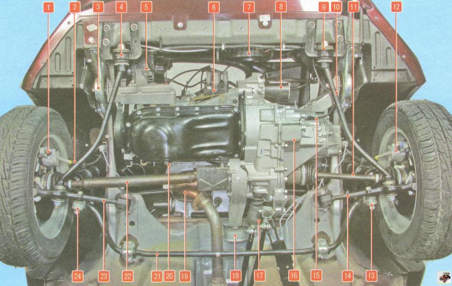 Расположение основных узлов и агрегатов автомобиля Лада Гранта ВАЗ 2190 (вид снизу спереди, брызговик двигателя снят)
