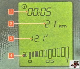 Дисплей бортового маршрутного компьютера (комплектация «Норма»)