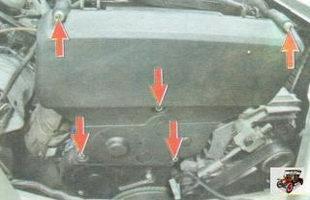 болты крепления верхней передней защитной крышки ремня ГРМ
