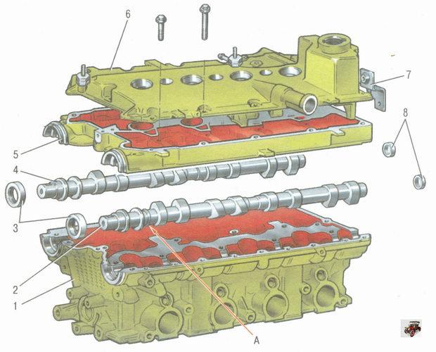 детали головки блока цилиндров автомобиля Лада Гранта ВАЗ 2190 с двигателем ВАЗ 21126