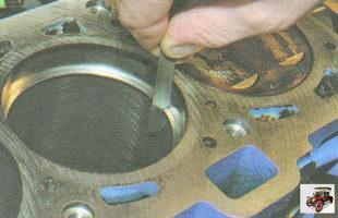 проверка зазора в замках поршневых колец
