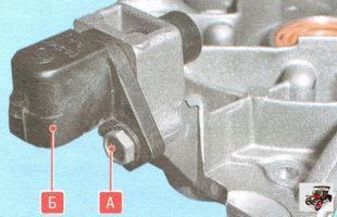 А - болт крепления ДПКВ; Б - ДПКВ (датчик положения коленвала)