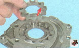 установите ведущую шестерню в крышку масляного насоса