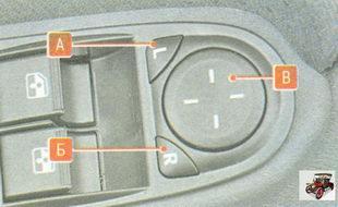 кнопки регулировки зеркал