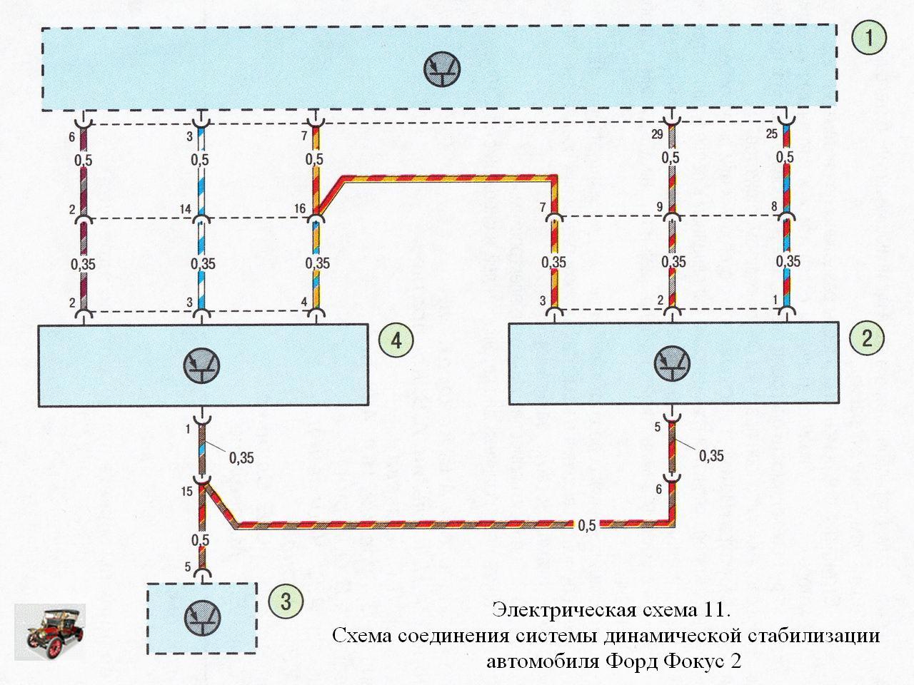 форд фокус 1 общая электрическая схема