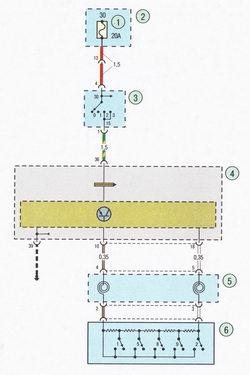 Электрическая схема 6. Схема соединения системы контроля скорости Форд Фокус 2