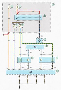 Электрическая схема 7a. Соединения системы управления двигателем Форд Фокус 2
