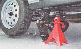 домкрат винтовой ромбический; подставка под автомобиль