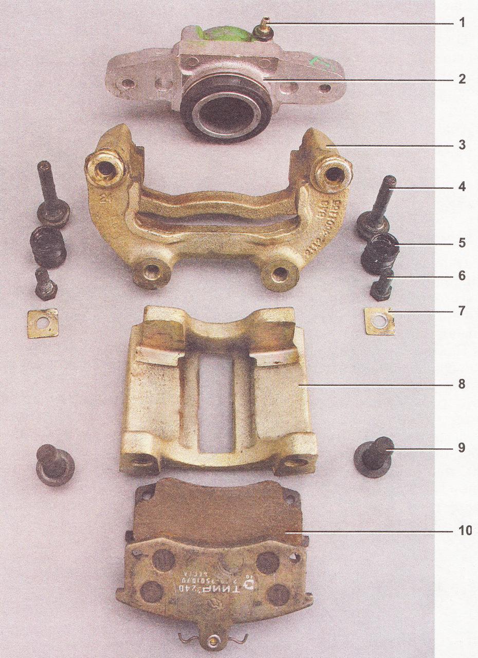 Детали переднего тормозного суппорта ВАЗ 2110, ВАЗ 2111, ВАЗ 2112
