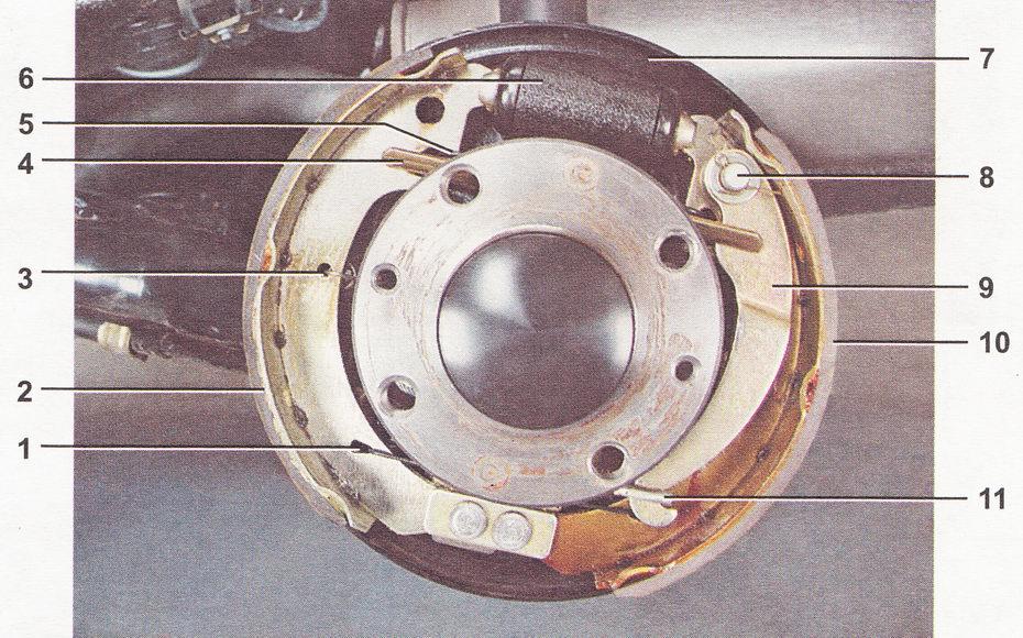 Устройство, схема заднего тормозного механизма автомобиля ВАЗ 2110, ВАЗ 2111, ВАЗ 2112