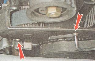 болты крепления нижней части передней крышки ремня привода ГРМ ВАЗ 2111