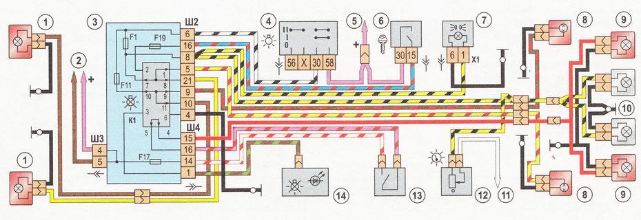 Схема подсветки ваз 2112