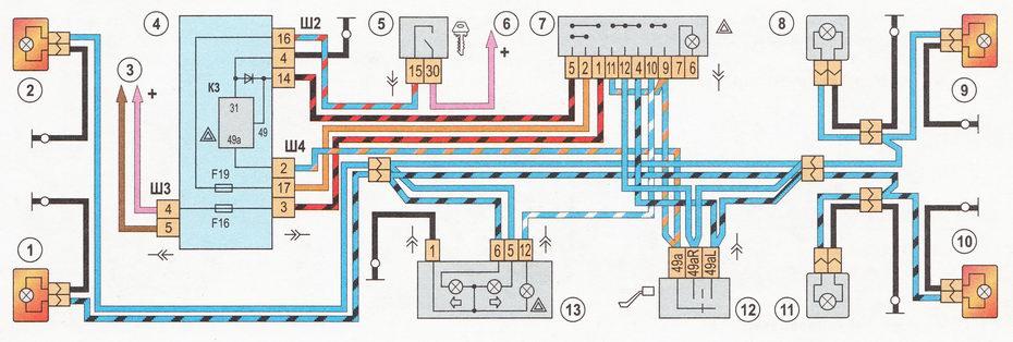Схема включения указателей поворотов и аварийной сигнализации на автомобиле ВАЗ 2110, ВАЗ 2111, ВАЗ 2112