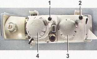 Расположение регулировочных винтов и секций на левой блок-фаре