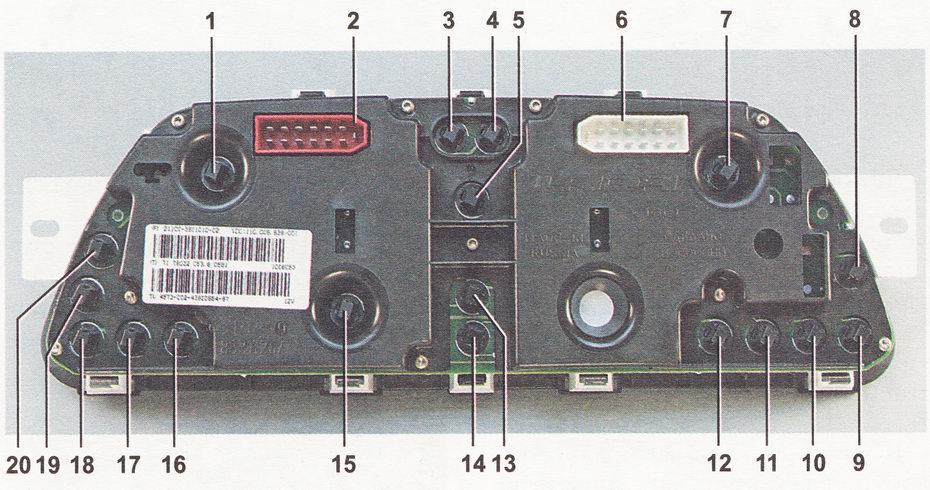 Схема лампочек приборной панели 2114