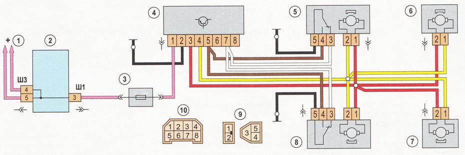 Схема электропривода блокировки замков дверей (центральный замок) автомобиля ВАЗ 2110 | ВАЗ 2111 | ВАЗ 2112