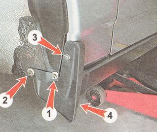 места крепления подкрылка и брызговика переднего крыла
