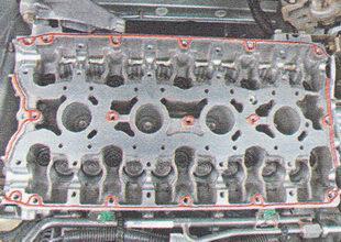 места нанесения герметика на привалочные плоскости корпуса подшипников распредвалов