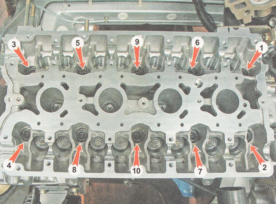 последовательность отворачивания болтов головки блока цилиндров ВАЗ 2110