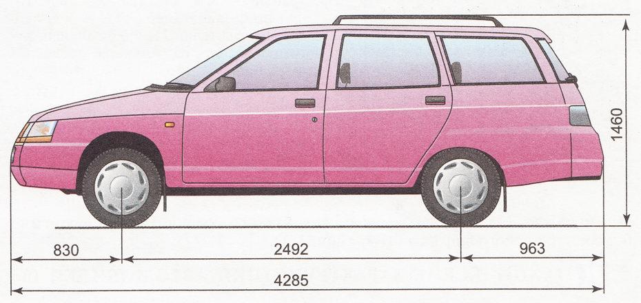 Габаритные размеры автомобиля ВАЗ 2111
