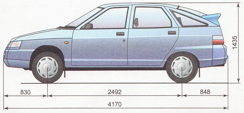 Габаритные размеры автомобиля ВАЗ 2112