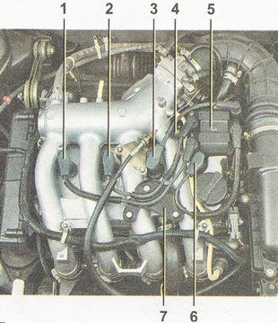 расположение высоковольтных проводов свечей зажигания на двигателе ВАЗ 2112 (l,5i)