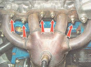гайки крепления выпускного коллектора глушителя ВАЗ 2111