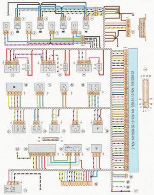 Электрическая схема управления инжекторным двигателем ВАЗ 21124 (1,6i) ЕВРО II автомобили ВАЗ 2110, ВАЗ 2111, ВАЗ 2112