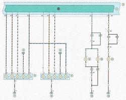 Электрическая схема 11. Схема подключения задних фонарей, фонарей освещения номерного знака, дополнительного стоп-сигнала автомобиль Опель Астра Н