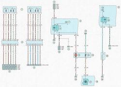 Электрическая схема 2. Топливный насос, система подогрева топливного фильтра (автомобили Опель Астра Н, оснащенные дизельным двигателем) и датчиком положения педали