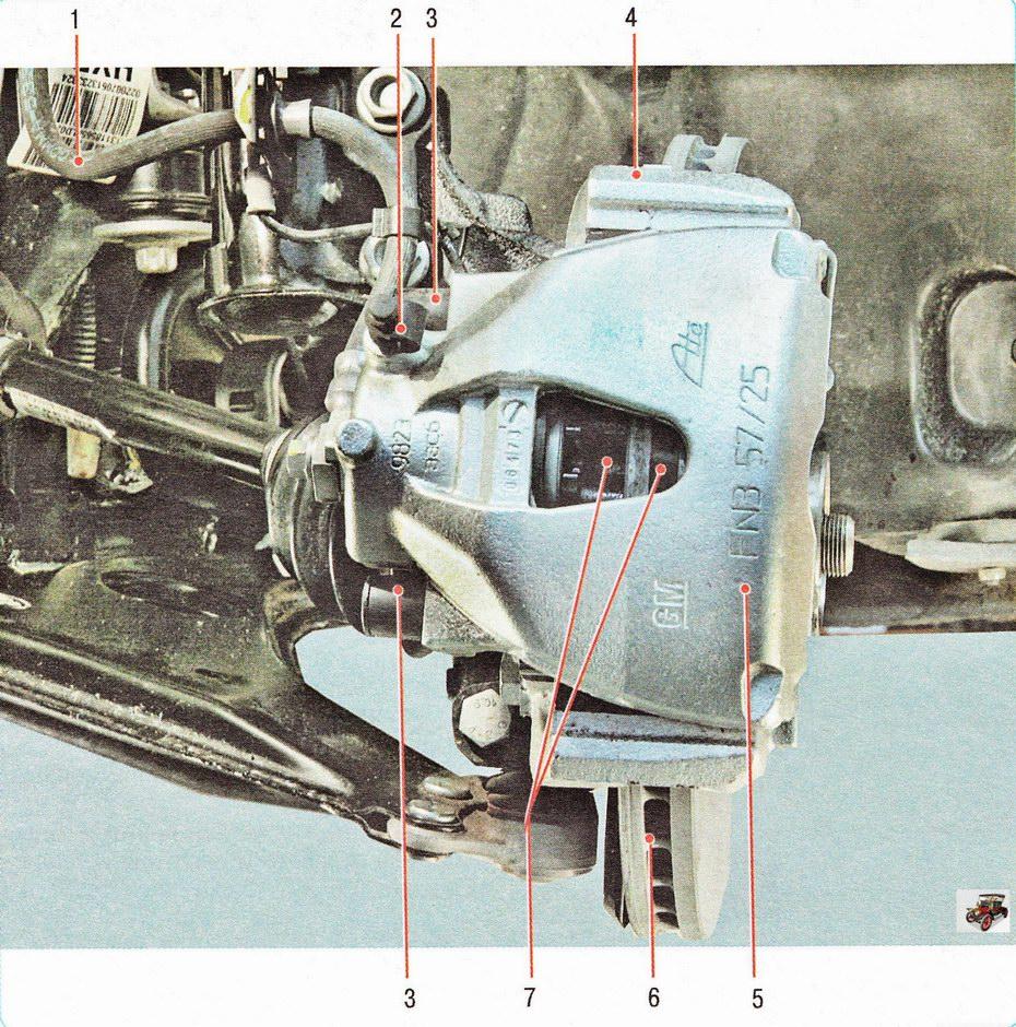 Тормозной механизм переднего колеса Опель Астра Н