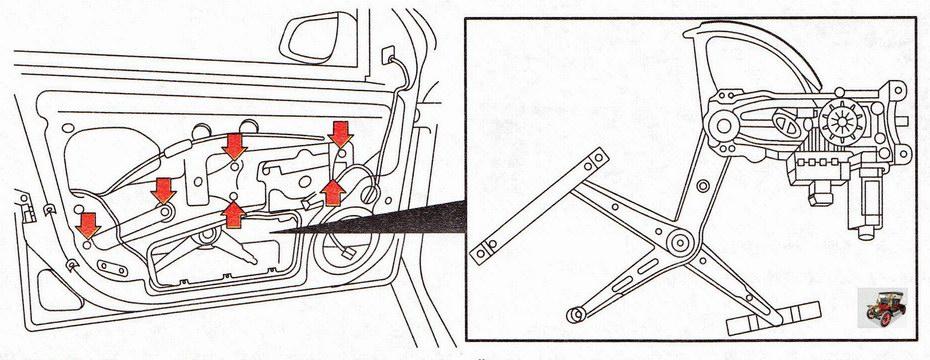 Крепление электростеклоподъемника передней двери Опель Астра Н