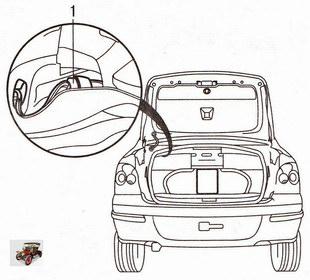 Расположение разъема жгута проводов в багажнике Опель Астра Н