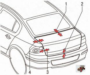 Контроль зазоров крышки багажника относительно панелей кузова Опель Астра Н