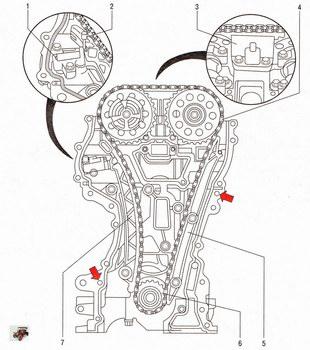 Снятие цепи привода газораспределительного механизма Опель Астра Н